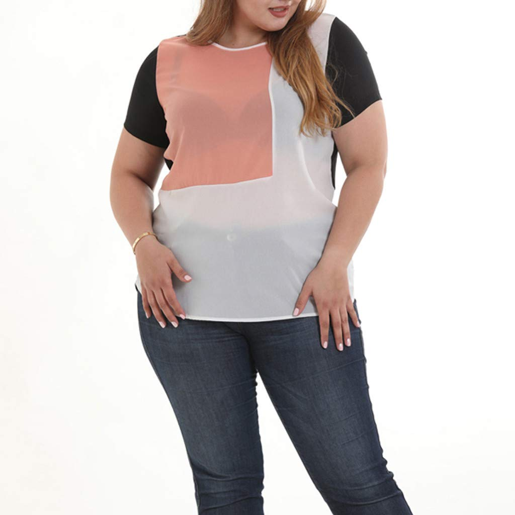 af444b4c93a Women s Chiffon Color Block T-Shirt O-Neck Patchwork Short Sleeve Fashion Top  Blouse Loose Breathable Comfy Tees S-6XL at Amazon Women s Clothing store