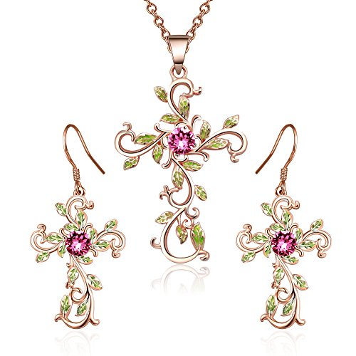 Angelady God We Trust Cross Pendant Necklace for Women Gifts,Pink Crystal from Swarovski (Red) (14k Crystal Swarovski Gold Yellow)