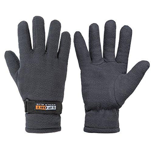 GLOUE Winter Gloves Winter Keep Warm Soft Fleece Lined Gloves Multiple Color for Men & Women (Gray)