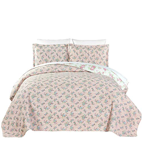 (Chezmoi Collection 2-Piece Pink Rose Floral Garden Reversible Vintage Washed 100%-Cotton Quilt Set (Twin))