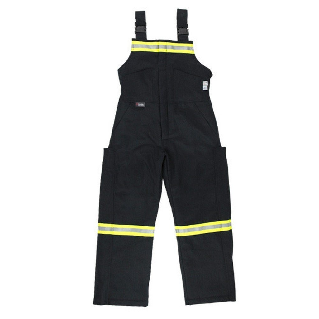 Oil and Gas Safety Supply Flame Resistant FR HRC 4 Insulated Reflective Bib Overalls XL Black