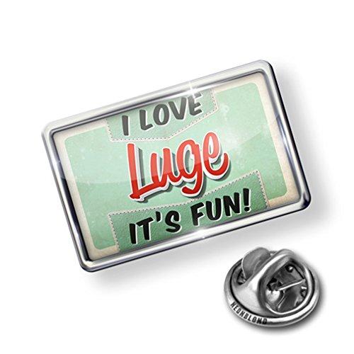 Pin I Love Luge, Vintage design - Lapel Badge - NEONBLOND