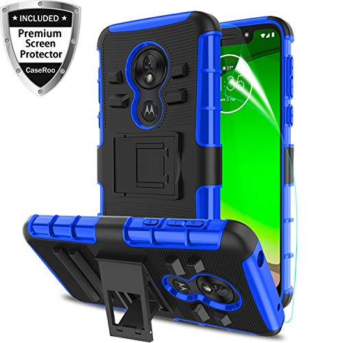 Motorola Moto G7 Play Case 2019 w/Screen Protector,Motorola Moto G7 Optimo Phone Case 5.7 inch,Kickstand Shockproof Heavy Duty Non SlipBumper Rugged Protective Cover for Moto G(7th Gen) Play-Blue (Moto Motorola G Cover)