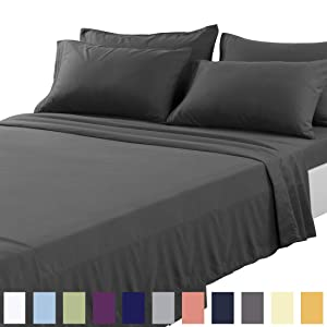 TEKAMON King Bed 6 Piece Sheet Set Cooling 100% Microfiber Polyester Extra Deep Pocket Fitted Sheet Luxury Soft,Breathable,Wrinkle and Fade Resistant Flat Sheet Dark Grey