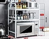 White/Black 2-layers stainless steel kitchen oven rack / dressing rack / shelves / storage shelves ( Color : White , Size : 583669.5CM )