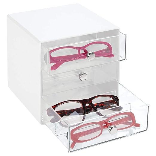mDesign Cajas para gafas de sol – Cajoneras de plástico con 3 compartimentos – Organizador de armarios para guardar todo tipo de gafas – transparente ...