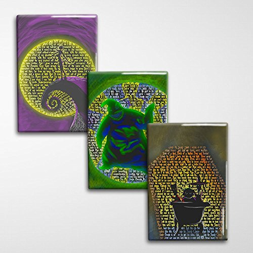 Nightmare Before Christmas Decorative Art Magnet Set, Three Magnets - 2x3