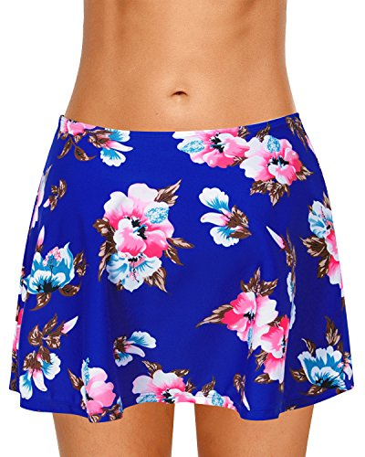 Dolamen Donna Pantaloni da Nuoto Gonna, 2018 Costumi da bagno Donna Pantaloncini Bikini Costume intero moda da bagno Shorts Swimwear Costume Mare Bueflowers