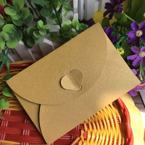 - Aircors 50 pcs/lot Fashion Retro Heart Shape Vintage Romantic Paper Envelop Gift for Wedding Invitation/Card Stationery - (Color: Golden)