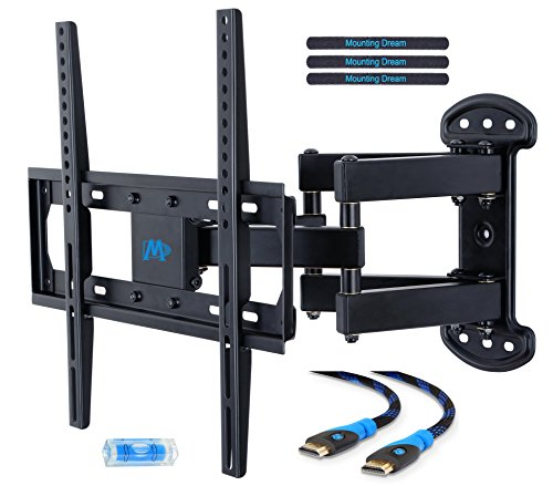 Mounting Dream MD2379 TV Wall Mount Bracket for most of 26-55 Inch LED, LCD, OLED and Plasma Flat Screen TV with Full Motion Swivel Articulating Dual Arms up to VESA (Single Stud Wall)
