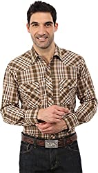 Roper Men's 0100 Khaki Plaid Brown Button-up Shirt MD