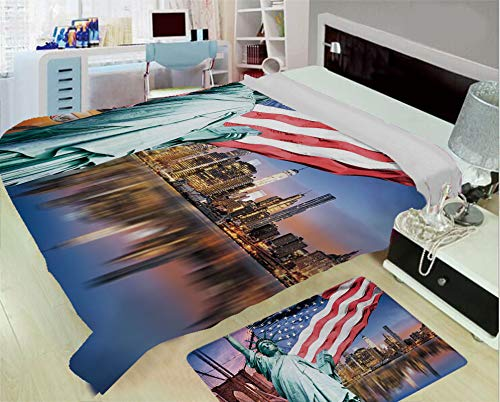 super light and warm flannel warm sofa or bed blanket,United States,USA Touristic Concept Collection Statue of Liberty NYC Cityscape Flag Cars Decorative,Multicolor,One side printing,Excess Value ()