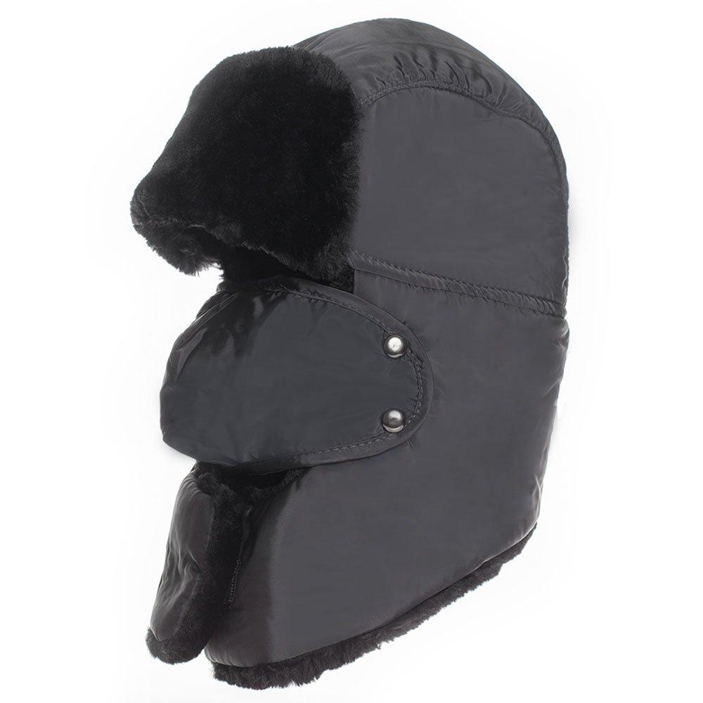 6018a76f4e6 Amazon.com  Winter Warm Hat Ushanka Hunting Trooper Trapper Aviator Bomber  Cap Cold Weather Windproof Ski Black  Clothing
