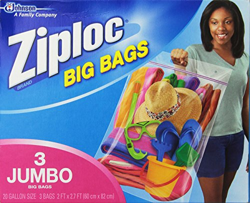 Price comparison product image Ziploc Big Bag Double Zipper,  3 Jumbo Big Bags