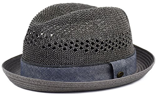urbanhatshop Men's Vented Summer Fedora Lightweight Derby, Porkpie Stingy Brim, Mesh Hat (Gray, L/XL)