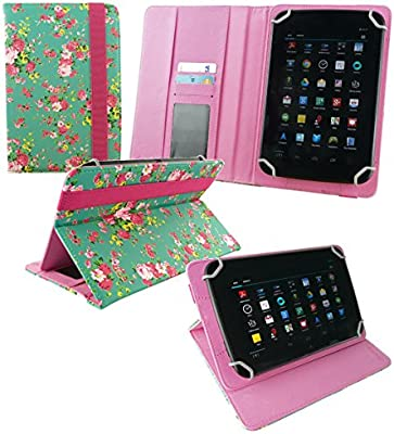 Emartbuy® Bq Edison 3 Mini 8 Inch Tablet Universal Range Verde Rose Garden PU Leather Ángulo Múltiples Executive Folio Funda Carcasa Wallet Case Cover ...