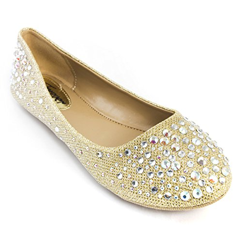 V-Luxury Womens 32-LARISA39 Round Toe Flat Ballerina Ballet Shoes, Champagne, 7.5 B (M) US