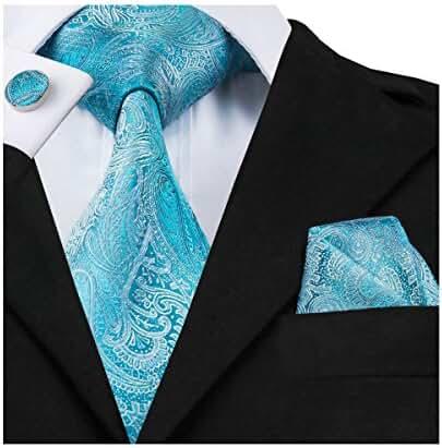 Hi-Tie Blue Necktie Paisley Hanky Cufflinks Set