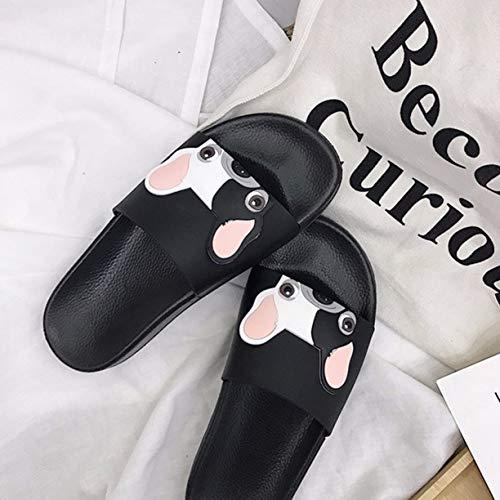 Intérieur Antidérapante Pantoufles Été Chien Épais Detectoy Doux 40 pour Pantoufles Style Semelle Pantoufles Modèle Extérieur Mode coréen Black Mignon Casual Femmes nnZWTxvF