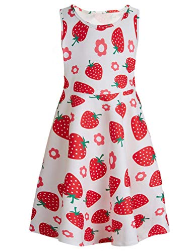 (RAISEVERN Cute Little Girls Summer Dress Sleeveless Sweet Fruit Strawberry Printing Casual/Party Swing)
