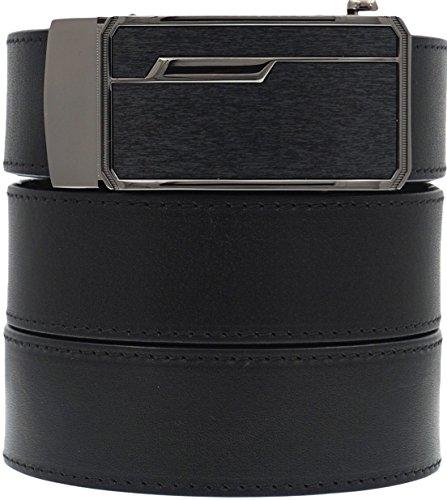 West Leathers Men's Premium Full Grain Leather Belt - No Break Heavy Duty Belt - No Holes Slide Ratchet Dress Belts Size 38 Style 7