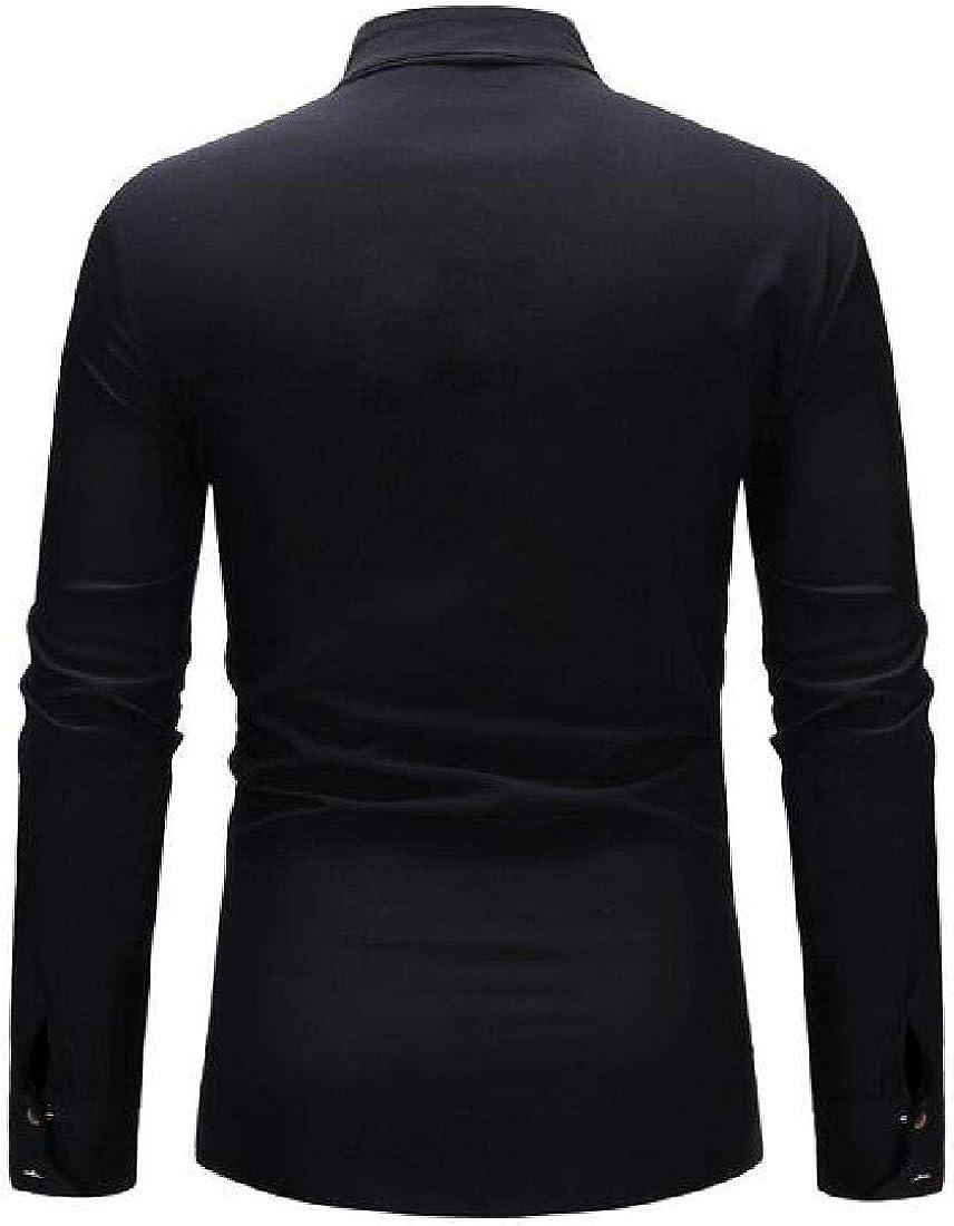 Jotebriyo Mens Button Front Long Sleeve Print Ethnic Casual Shirt