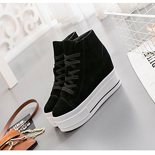 Btrada Womens High Top Casual Sneaker Lace-up Heel Aumentare Nascoste Scarpe Da Passeggio In Tela Scarpe Da Ginnastica Nere