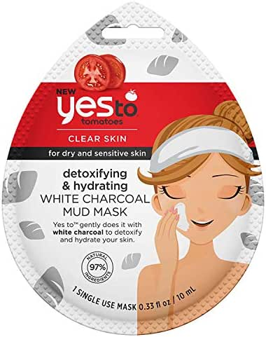 Yes To Tomotoes Detoxifying & Hydrating White Charcoal Mud Mask - Single Use | For Dry and Sensitive Skin | White Charcoal To Gently Detoxify & Hydrate For Healthy Looking Skin