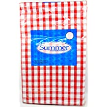 """Jo-ann's Summer Inspirations Vinyl Tablecloth,checked,flannel Backed,indoor/outdoor (Red Check, 52"""" x 90"""")"""
