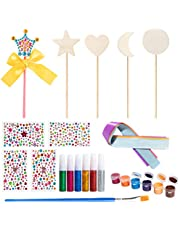 BeYumi 27 Pcs Make Your Own Princess Wand DIY Art Craft Kits – 5 Wooden Wands, 6 Glitter Glues Pens, 5 Ribbons, 4 Gem Stickers, 6 Paints, 1 Paint Brushes, Princess Gifts Party Favors for Kids Girls