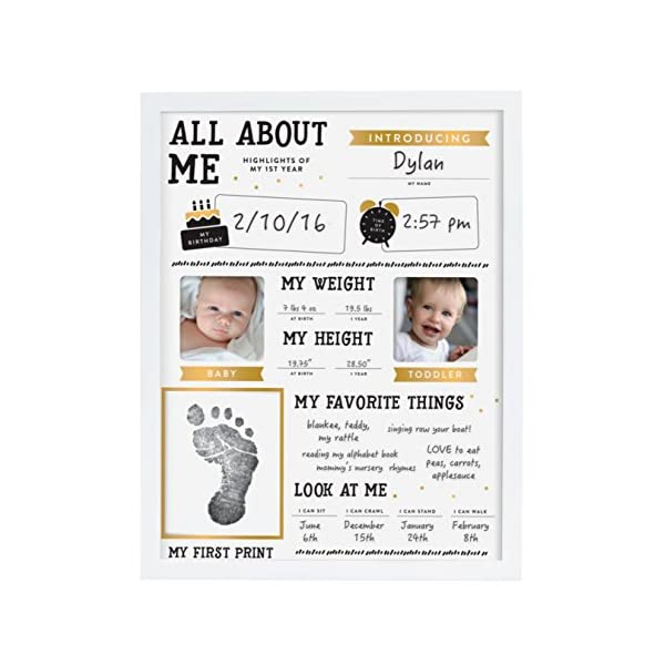 Little Blossoms by Pearhead Baby's Highlights Keepsake Photo Frame with Included Ink Pad, White