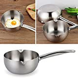 Stainless Steel Double Boiler, Mini Sauce Pan Milk Pot with Handle, Double Spouts, Universal Melting Pot for Chocolate, Candy, Butter, Cheese, Caramel, 18cm(Silver)