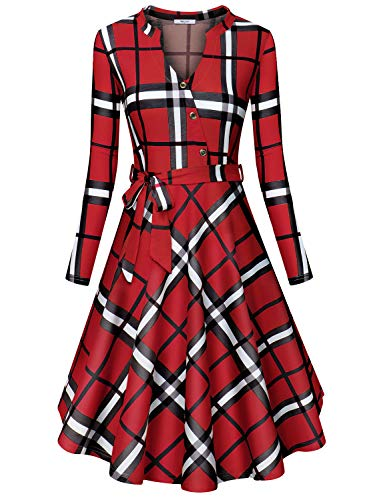Diphi LiLi Women's V Neck Long/Short Sleeve Button Decoration Plaid Swing Dress (Red and Black, XXX-Large)