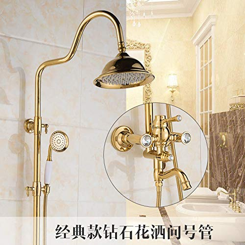 H Hlluya Professional Sink Mixer Tap Kitchen Faucet Shower Kit gold Green Jade marble shower antique shower faucet brass rain-water mixing valve retro shower Series L