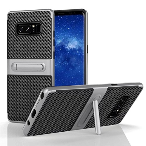 Price comparison product image For Samsung Galaxy Note 8 Case,SMYTShop Shockproof Hybrid TPU + PC Cover Case with Kickstand for Samsung Galaxy Note 8 (2017) (Silver)