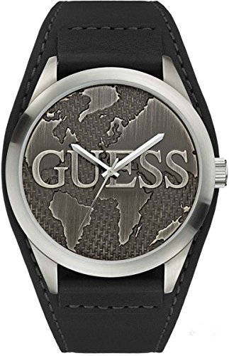 Guess Men's Leather CUFF Strap Vintage Globe Watch W0481G1
