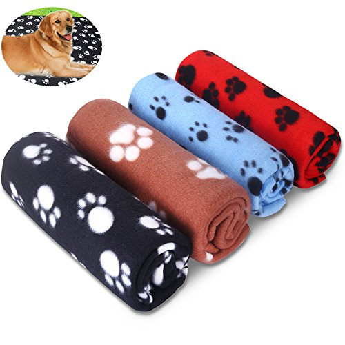 - Comsmart Pet Blanket Warm Dog Cat Fleece Blankets Sleep Mat Pad Bed Cover with Paw Print Soft Blanket for Kitten Puppy and Other Small Animals (4 Pack of 28x39 Inches)