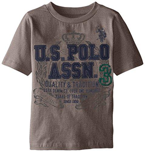 U.S. Polo Assn. Boys' Crew Neck Iconic Graphic Logo T-Shirt,Medium Heather ()