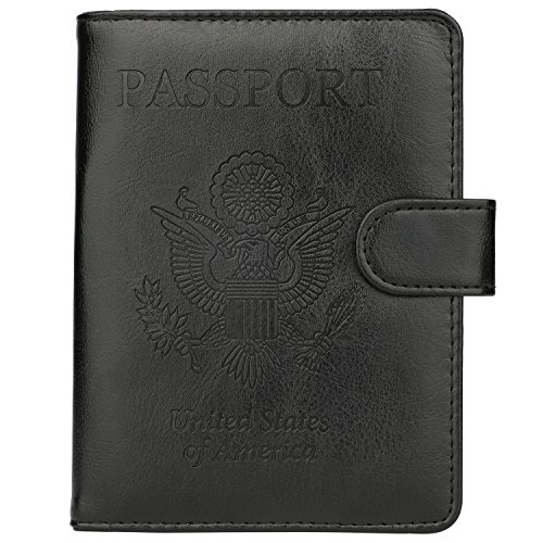 GDTK Leather Passport Holder Cover Case RFID Blocking Travel Wallet (Black #2)