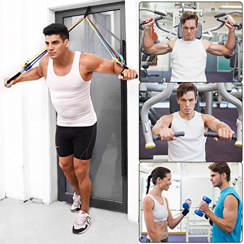 Resistance Band Set, Home Workout Bands with Handles, Heavy Duty Anti-Snap Technology Exercise Bands, Door Anchor, Leg Straps, Carrying Bag for Resistance Training and Physical Therapy. by Doraimy (Image #2)