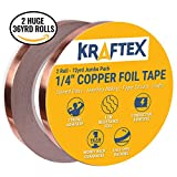 Arts & Crafts : Copper Foil Tape [2 HUGE ROLLS] (1/4inch X 36yd each) 72 Yard Pack with Conductive Adhesive - Stained Glass, Soldering, Electrical Repair, Grounding, EMI Shielding - Extra Value Pack- 39% Thicker Foil