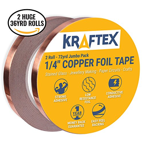 Copper Foil Tape [2 HUGE ROLLS] (1/4inch X 36yd each) 72 Yard Pack with Conductive Adhesive – Stained Glass, Soldering, Electrical Repair, Grounding, EMI Shielding – Extra Value Pack- 39% Thicker Foil