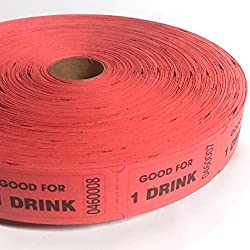 2000 Red Good For One Drink Single Roll Consecutively Numbered Raffle Tickets