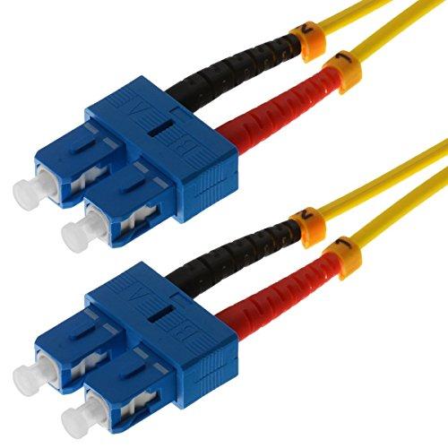 helos LWL Patch Cord 9/125µm OS2 SC/SC 2,0m - SC Duplex Plug/Stecker, Yellow