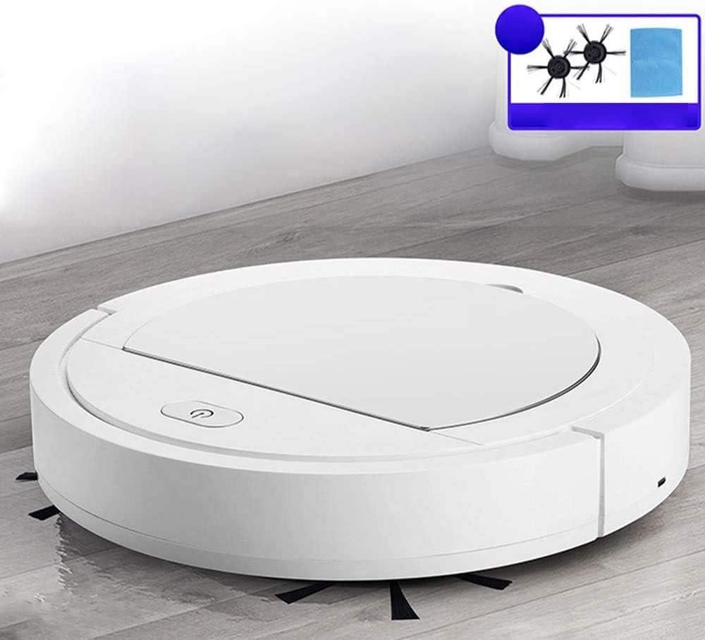 WJJH Mini Intelligent Aspirateur Sweeper Nettoyage Rechargeable Balayer Robot de ménage sans Fil Vacum Aspirateur,Blanc White