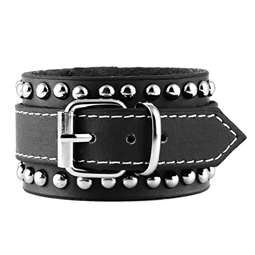 HZMAN Men's Alloy Rivet Genuine Leather Belt Leather Buckle Bracelet Cuff Adjustable (Rivet Women Leather Cuff)