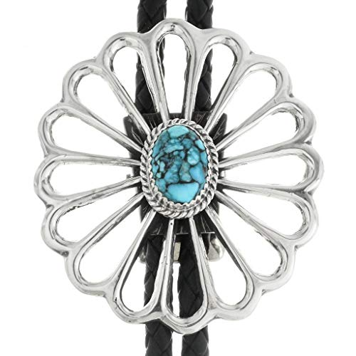 (Spiderweb Turquoise Old Pawn Style Bolo Tie Medium Sterling Sandcast Design)