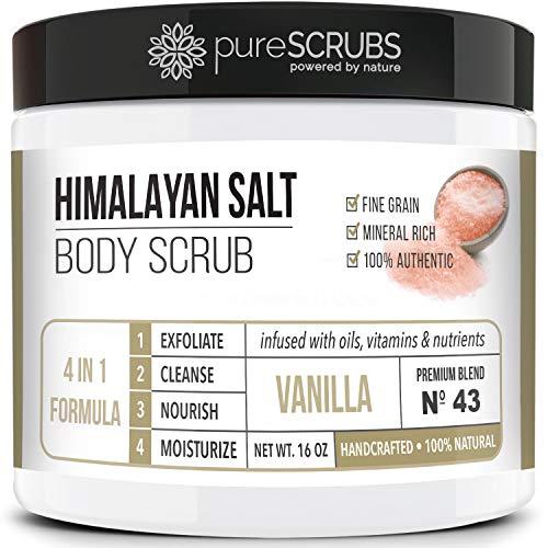 pureSCRUBS Premium Pink Himalayan Salt Body Scrub Set - Lg 16oz VANILLA SCRUB, Organic Essential Oils & Nutrients + FREE Wooden Stirring Spoon, Loofah & Mini Exfoliating Bar Soap