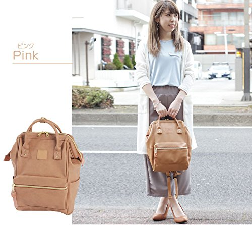 f7525e64673 Amazon.com   Japan Anello Backpack Unisex PINK BEIGE MINI SMALL PU LEATHER  Rucksack Bag Campus   Casual Daypacks