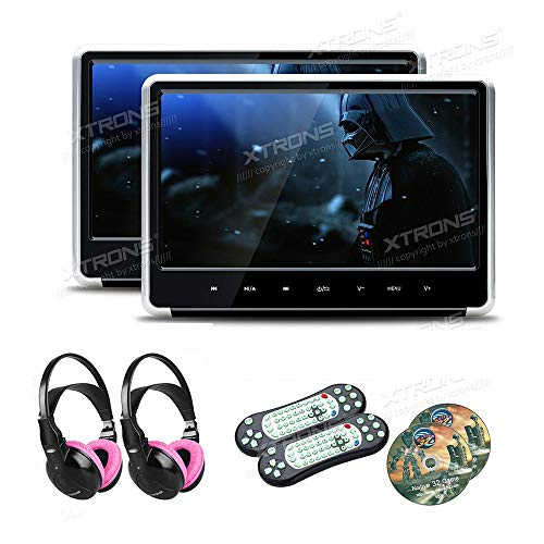 (XTRONS Silver 2×11.6 Inch 19201080 IPS Display 1 Pair HD Digital Touch Panel Car Auto Headrest Active DVD Player Kid Games Built-in HDMI Port with 2 IR Children Wireless Headphones )